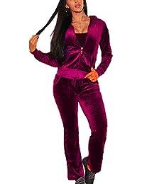 Veste de Sport à Capuche de Femmes Costume de survêtement de Mode, Tops de Fermeture éclair + Pantalon Long 2 pièces survêtement pour Sport Gym Jogging