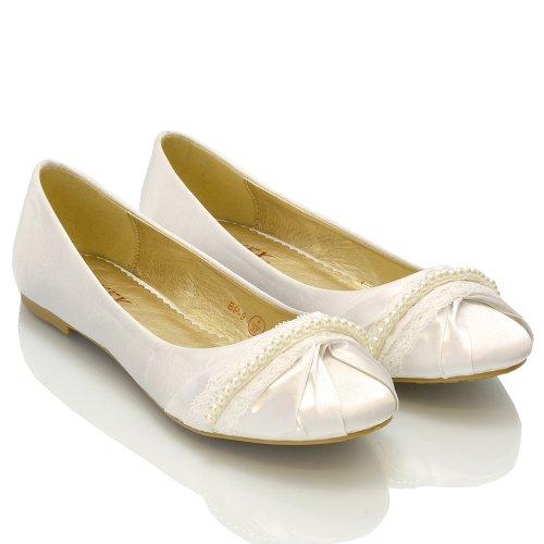 ESSEX GLAM Scarpa Donna Satinato Ballerina Lacci Perle Senza Tacco Matrimonio Bianco Satinato