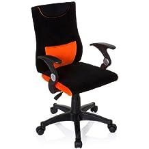 hjh OFFICE 670480 silla para niños KIDDY PRO AL tejido naranja, altura ajustable, con apoyabrazos, ergonómica, cómoda, alta calidad, juvenil, buen acabado, fácil de limpiar, estable, silla infantil