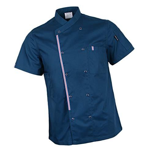 P Prettyia Atmunngsaktiv Kochjakce Bäckerjacke mit Druckknöpfe Kochbekleidung Arbeitskleidung Berufsbekleidung Arbeitsjacke für Gastronomie - Blau, M - 8