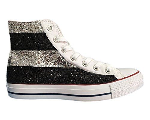 Converse All Star con applicazione di tessuto glitter argento e nero a strisce Argento