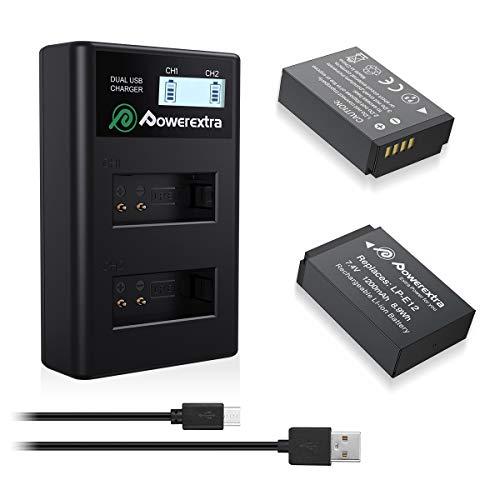 Powerextra 2 Batteries Canon LP-E12 1200mAh et Chargeur Double d'Affichage LCD avec USB Câble 7,4V Remplacement Canon EOS M, EOS M2, EOS M10, EOS 100D, Rebel SL1, Kiss X7 Appareil Photo Numérique