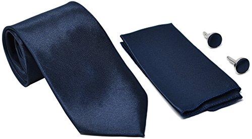 Kingsquare Herren Krawatte, Einstecktuch und Manschettenknöpfe - Blau -