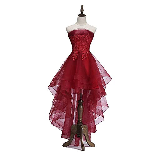 KAIDUN Damen Abendkleider Elegant Schulterfrei Cocktail Party Ball Kleid Burgundy 44