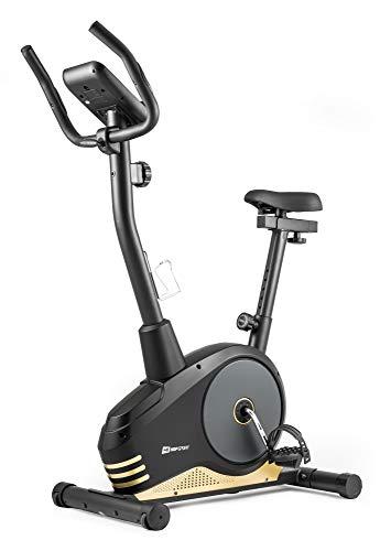 Hop-Sport Heimtrainer Spark Fitnessgerät mit Pulssensoren & Computer 8 Widerstandsstufen Lenker und Sattel verstellbar (Gold) -