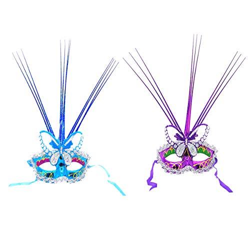 YeahiBaby 2 stücke Schmetterling Maske kreative schöne glänzende dekor Maske für Party Konzert Festival (zufällige Farbe, mit knopf Batterie)