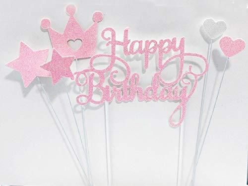 Lming Handgemachtes 6-Punkte-Glitzerkuchen, Das Spitzen FÜR Kuchen Cupcake Und EIS Dekoriert - Alles Gute Zum Geburtstag Glitzer-Rosa-Set (Geburtstag-kuchen-eis)
