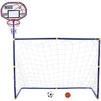 MRKE 2 EN 1 Canasta Baloncesto + Portería de fútbol para Niños Juguete  Plegables con Fútbol 7b503552e51e4