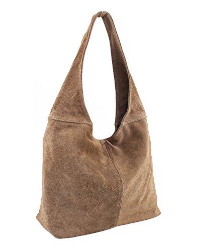 Ledertasche braun Beuteltasche Lederhandtasche Wildleder Handtaschen Leder Tasche Schultertasche Shopper 29-tau