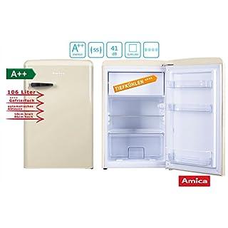 Amica Retro Kühlschrank Creme KS 15615 B A++ 106 Liter mit Gefrierfach Standgerät Coffee Creme