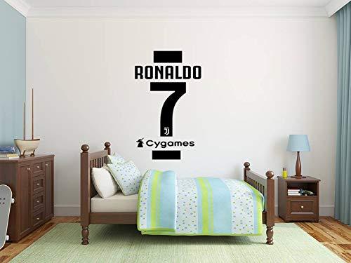 Cristiano Ronaldo T-Shirt # 7 Wandaufkleber + FREE Kostenloses Juventus Football Team Logo Zeichen Kamm Souvenir Fußball Aufkleben Aufkleber Abzeichen Serie A