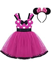 Freebily Kids Baby Girls Polka Dot Bowknot Princess Tutu Dress Halloween Christmas Fancy Costumes with Ear
