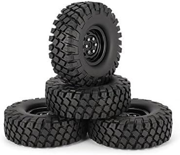Jasnyfall 4pcs pneus de pneus en Caoutchouc 115 mm 115 mm avec Jante de Roue en métal pour 1/10 Traxxas TRX-4 SCX10 RC4 D90 RC Voiture de Chenille Partie | D'adopter La Technologie De Pointe
