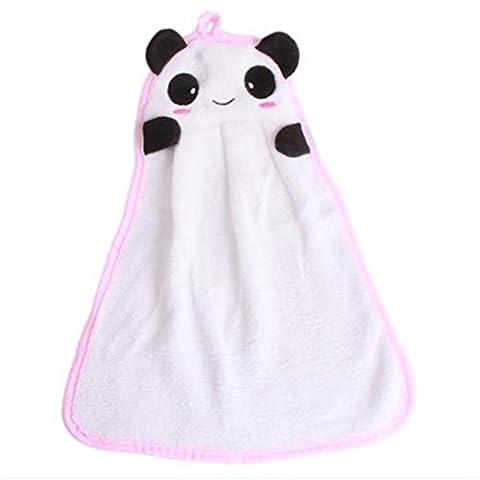 VWH Cartoon Hand Towel Baby Kids Soft Coral Velvet Fabric Animal Hanging Wipe Bathing Towel (panda)
