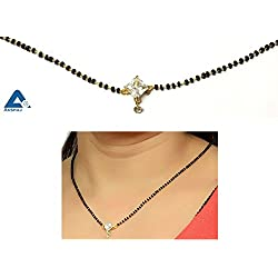 AKSHAJ Latest Design Gold Plated Real American Diamond Single Stone Mangalsutra Studded Necklace For Women