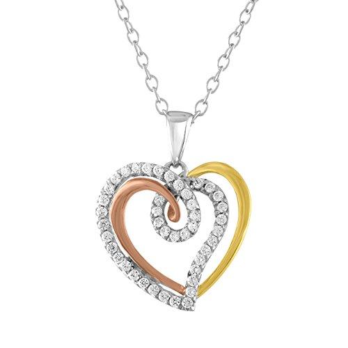 Plata de Ley Circonita 3tonos Twisted corazón colgante collar, 44cm