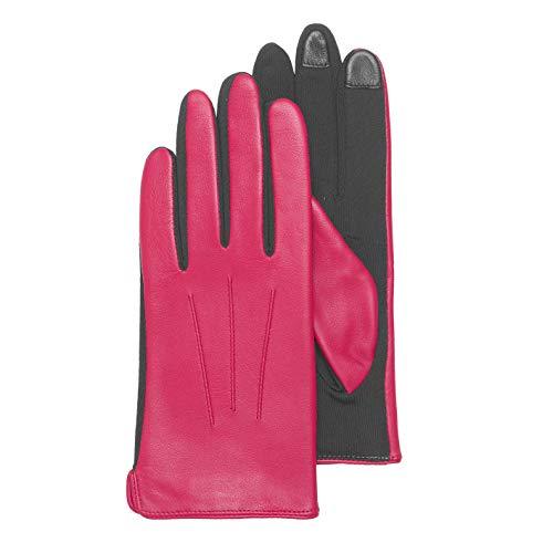KESSLER Mia, urbaner Touchscreen - Handschuh für Damen, Oberhand aus Lammnappa, hot pink, S (Hot Leder Damen Handschuhe)