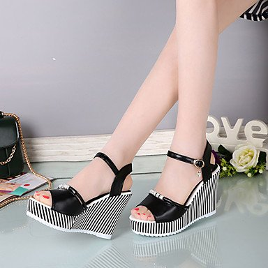 LvYuan Da donna Sandali PU (Poliuretano) Estate Footing Più materiali Zeppa Bianco Nero 7,5 - 9,5 cm Black