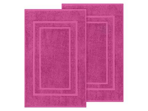 Packs zum Sparpreis - solide Frottiertücher - erhältlich in 18 modernen Farben und 8 verschiedenen Größen, 2er Pack Badvorleger (50 x 80 cm), pink