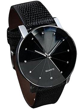 SAMGU Herren Damen Luxus Quarz Sport Militär Edelstahl Zifferblatt Lederband Armbanduhr Paar Uhr Couple Watches...