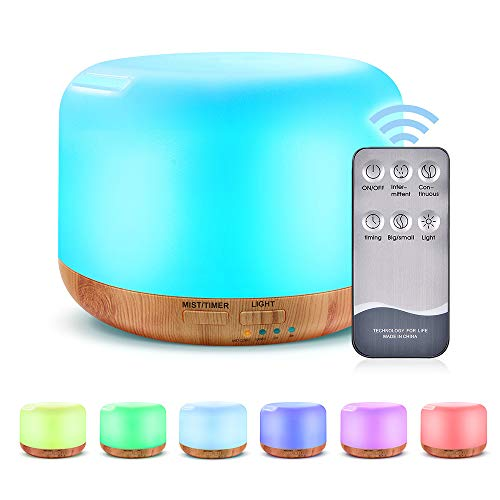 Mixigoo umidificatore ultrasuoni, 300ml diffusore di oli essenziali di 7 luci a led a colori diffusore di aromi e auto-off, umidificatore venature in legno con usb per spa, yoga, casa, ufficio