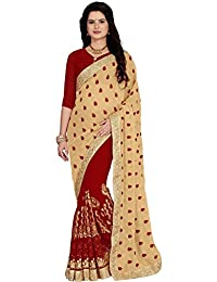 Vastrang Sarees Georgette Saree(5455RED_Red_Free Size)