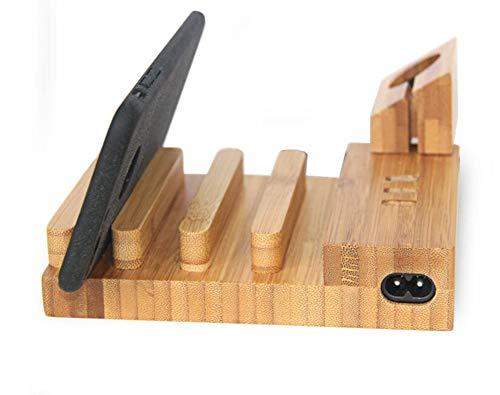 QIONGQIONG Multi-Device-Lade Station Handy-Ladegerät Basis Halterung Holz Multi-Port-USB Für Die Meisten Smartphones/Ipads/Tablet/Apple Mobile Phone Android Handy Mobile-device-station