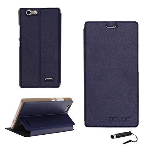 Tasche für Oukitel C4 Hülle, Ycloud PU Ledertasche Metal Smartphone Flip Cover Case Handyhülle mit Stand Function Marineblau