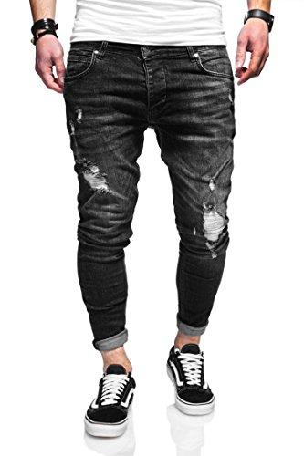 6b9641001d0149 Behype Herren Destroyed Jeans-Hose 80-3496 (38/32, Schwarz)