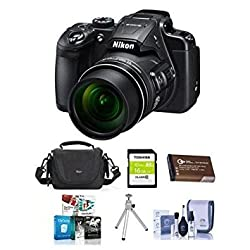 Nikon Coolpix B700 Digital Point & Shoot Camera, Black - Bundle With 16GB SDHC Card, Spare Battery, Camera Bag, Table Top Tripod, Cleaning Kit, Software Package