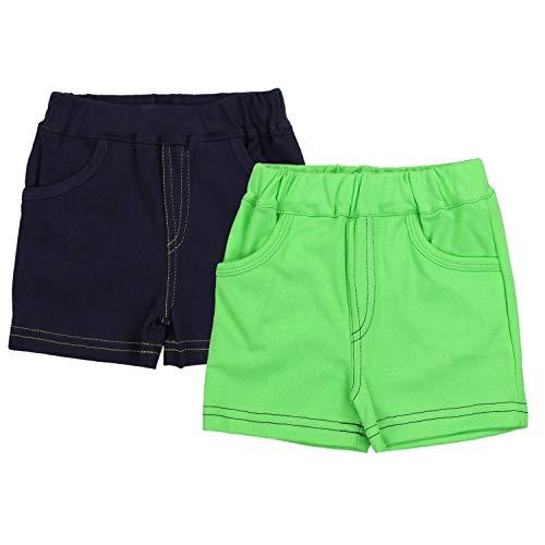 TupTam Jungen Kurze Hose Bermuda 2er Pack, Farbe: Dunkelblau/Grün, Größe: 92 cm