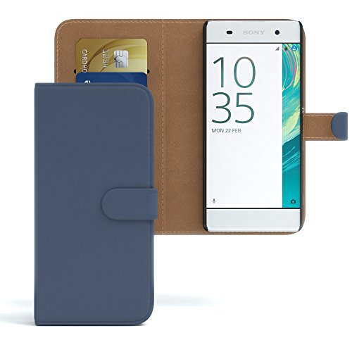 Sony Xperia XA Hülle - EAZY CASE Premium Flip Case Handyhülle - Schutzhülle aus Leder in Lila Dunkelblau (Book)