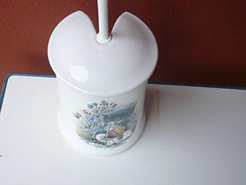 WC-Garnitur aus Keramik Dekor weiß mit Druck Katze hergestellt in Deutschland