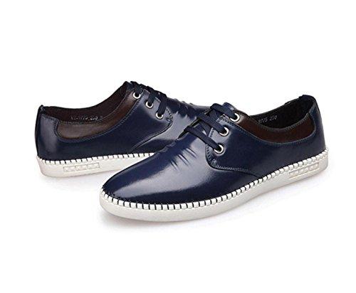 GRRONG Herren Leder Schuhe Breathable Echt Leder Fashion Freizeit Schwarz Blau Braun Blue