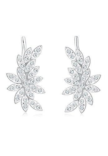 Elli Premium Damen-Ohrstecker Blume, Earcuff 925 Silber rhodiniert Kristall weiß Rundschliff - 0312462316
