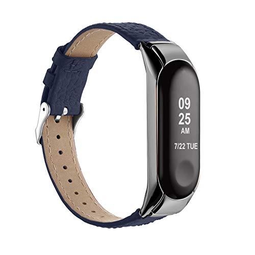 """GeeRic Strap para Mi Band 3, pulseira Mi Band 3 Strap Replacement in Pulseira de couro sintético de substituição para Xiaomi Mi Band 3 (Wrist 5.5 """"-8.1"""") Azul"""