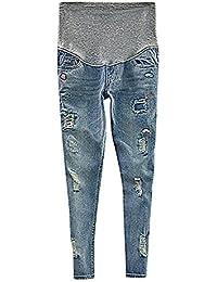 Flora, Damen Schwangerschafts-Jeans Slim Fit Taschen Blau Eklektischer Stil Volles Hosenbein