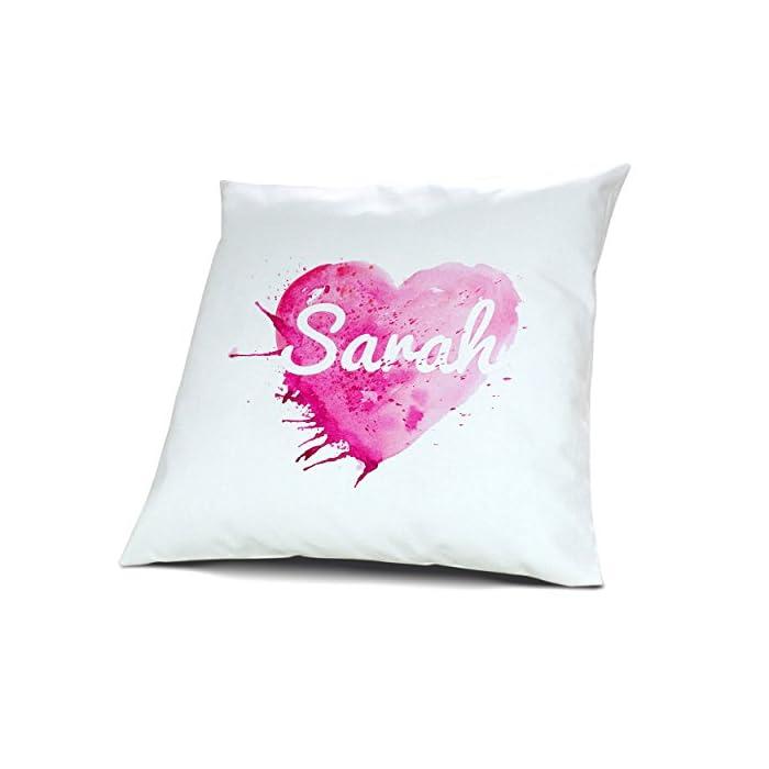 Kopfkissen mit Namen Sarah - Motiv Painted Heart, 40 cm, 100% Baumwolle, Kuschelkissen, Liebeskissen, Namenskissen, Geschenkidee