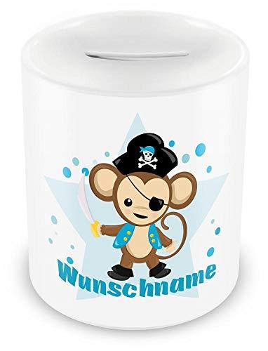Samunshi® Kinder Spardose mit Namen und Piraten Affe als Motiv für Kinder - Jungen und Mädchen Sparschwein Nr.7: weiß H:95mm / D:82mm (Piraten-namen Für Kinder Lustige)