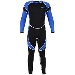 Bnineteenteam Enfants néoprène Scuba One-Piece Diving Snorkeling Wet Suit, Costume de plongée Manches Longues Corps Complet Surf Maillot de Bain(8)