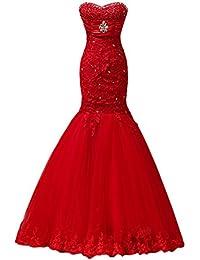 sunvary 2014 ideal Rojo Noche de tul de encaje sin tirantes de la Sirenita vestidos de