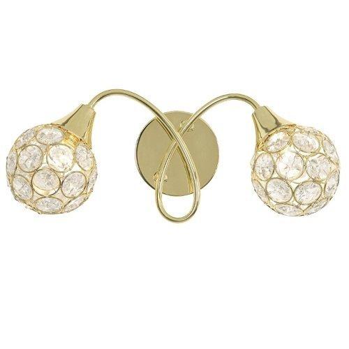 Oaks Lighting «Lana», finitura in ottone lucido, con paralumi in cristallo applique da parete con perline