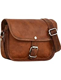 Genuine Leather Shoulder Sling Bag For Women Small Handbag Vintage Unisex Brown Crossbody Bags