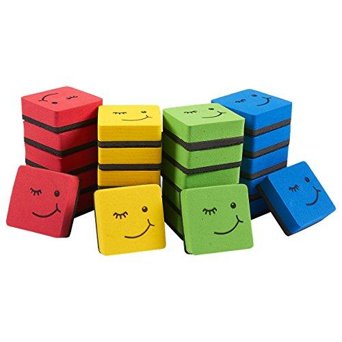 (Magnetischer Whiteboard-Radiergummi, magnetisch, trocken abwischbar, für Stifte und Marker, ideal für Kinder, Zuhause, Schule und Büro, Farben: Gelb, Blau, Rot und Grün, 4,8 x 1,8 x 4,8 cm, 24 Stück)