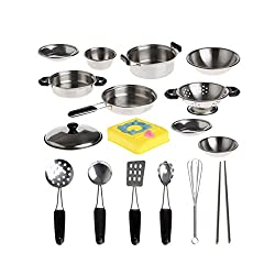 ABASSKY 20Pcs Stainless Steel Pots Pans Cookware Miniature Toy Pretend Play Gift For Kid