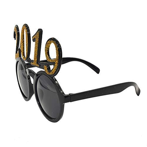 BESTOYARD 2019 Silvester Party Brille Sonnenbrille Spaßbrille Sonnenbrille Neujahr Brille Weihnachten Foto Props Kostüm Deko (Golden)