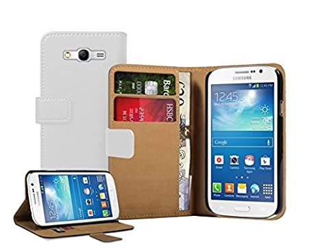Membrane - Blanc Portefeuille Etui Coque Samsung Galaxy Grand Neo (GT-i9060, GT-i9060DS, GT-i9060L) - Wallet Case Housse + 2 protections d
