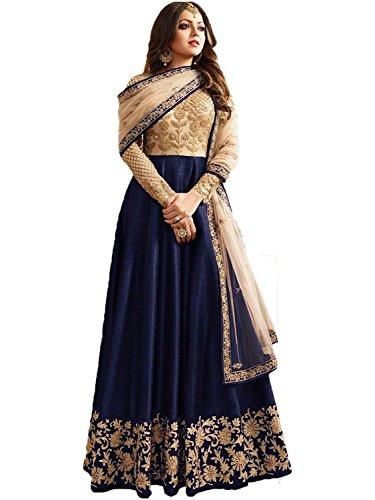 Aryan Fashion Women's Net Anarkali Salwar Suit Set (Ertyhg12003_Blue)