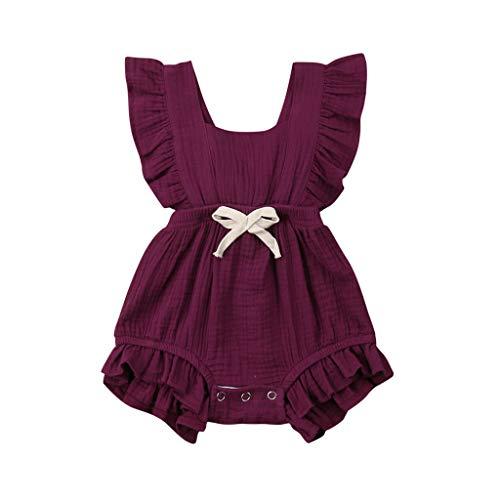 BeautyTop 3-24 Monat Kleinkind Baby Mädchen Outfits Einfarbig Strampler Ärmellos Spielanzug Baby Toddler Kinder Strampler Baby Neugeborenes ()