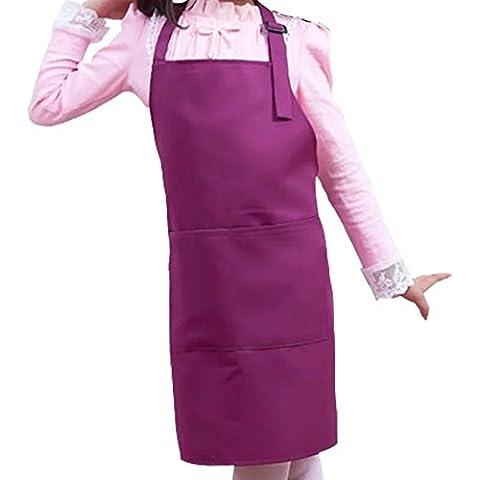 WARRAH Bambini Bavaglino Grembiule Spun poliestere - resistente, confortevole, Easy Care Grembiuli Grembiule per la cottura, grill e cottura grembiule con regolabile laccio-cucina, Aula, evento comunitario, Artigianato & Arte Pittura Activity Viola